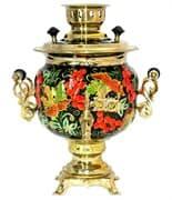 Самовар электрический c росписью Смородина на черном (№10) 3 литра, желудь. латунь